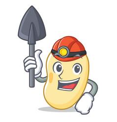 Miner soy bean mascot cartoon vector