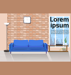 modern loft living room interior with couch table vector image