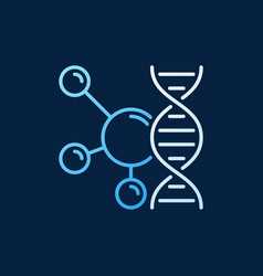 molecule with dna line colored icon vector image