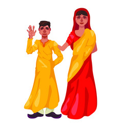 mother and son of hindus on white background boy vector image