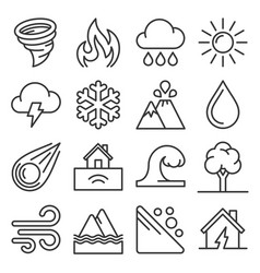 natural disaster icons set on white background vector image