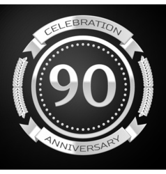 Ninety years anniversary celebration with silver vector