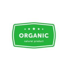 Organic natural product green rectangle emblem vector