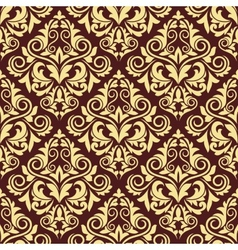 Ornate brown and yellow seamless arabesque pattern vector
