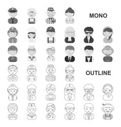 people of different professions monochrom icons in vector image