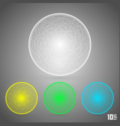 polygonal sphere set color vector image