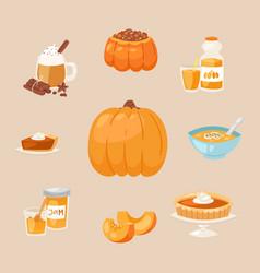 pumpkins dishes cartoon menu vector image