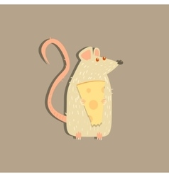 Rat Holding Cheese Image vector