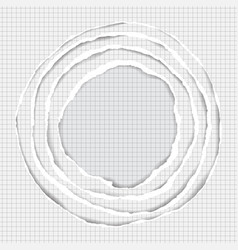 Realistic ripped squared paper circle elements vector