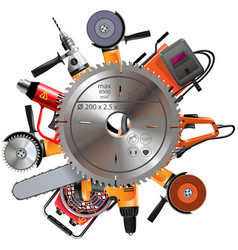 Saw with power tools vector