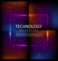 Set of abstract technology web banner vector