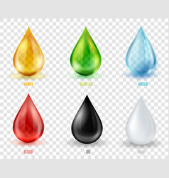 set transparent drops of various mos vector image
