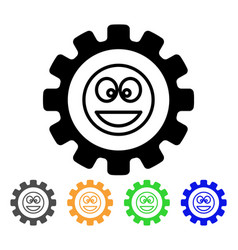 Settings gear smile icon vector
