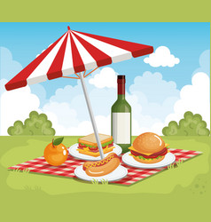 Tableclothes picnic with umbrella and food scene vector