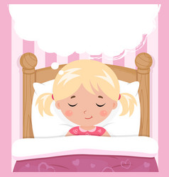 The little girl sleeps in the bed speech bubble vector