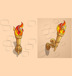The torch with burning fire the ornate decor day vector