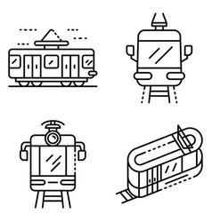 tram car icons set outline style vector image