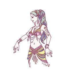 tribal dancer or belly dancer girl in hand drawn vector image