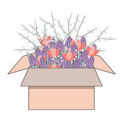 tulips flowers in cardboard box bouquet vector image