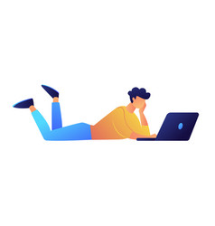 user lying with laptop vector image