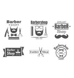 vintage barbershop badge or logo vector image