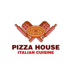 Vintage pizza house italian food logo inspiration vector