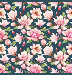 Watercolor magnolia floral pattern vector