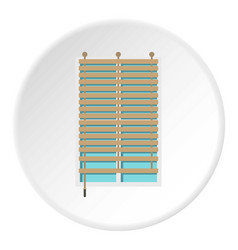 Window with wooden jalousie icon circle vector