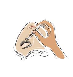 Woman face eyelash extension procedure vector