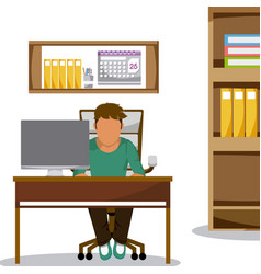 Young man at office vector