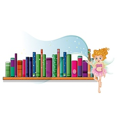 A fairy flying beside a wooden shelf vector image vector image