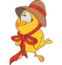 Chicken in a hat cartoon vector image vector image