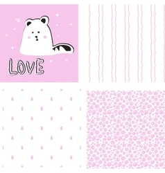 Cute cat on striped background vector