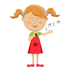 cute little girl with microphone singing vector image