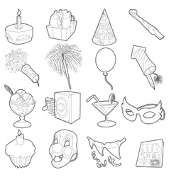 Happy birthday icons set outline cartoon style vector image