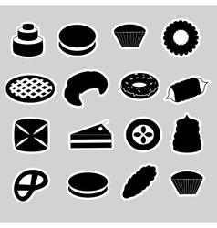 sweet desserts black stickers eps10 vector image