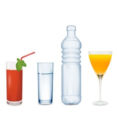 two glasses of juice and water vector image vector image