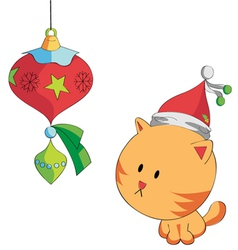 christmas cat vector image vector image