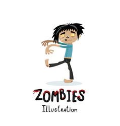 cute walking dead man character in cartoon style vector image vector image