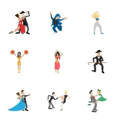 Dancing people icons set cartoon style vector image