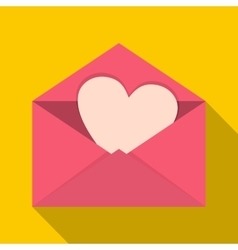 Pink envelope with Valentine heart icon flat style vector image