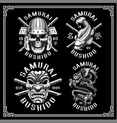 samurai mini set for dark background vector image