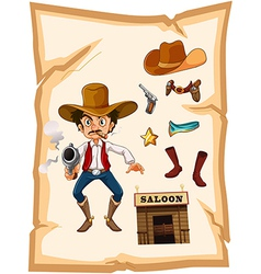 A poster with an armed old cowboy and a saloon bar vector image