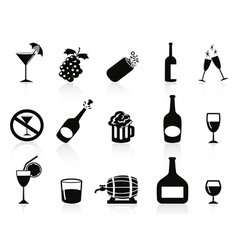 black drinks and beverages icons vector image