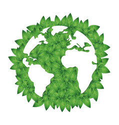 silhouette of earth and green leaves vector image