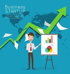 businessman present about business start up vector image vector image