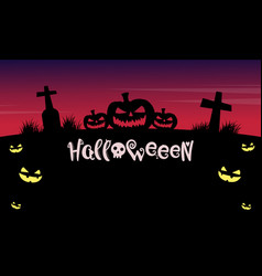 halloween night background with grave vector image vector image