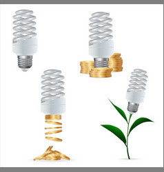 set clipart energy saving lamp and money vector image