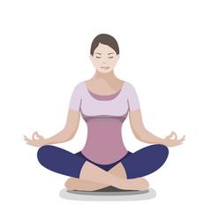 silhouette of yoga woman padmasana - lotus pose vector image vector image
