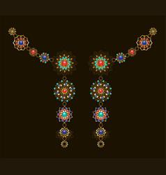symmetrical ethnic decoration with lapis lazuli vector image vector image
